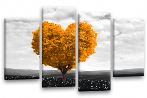 Love Heart Canvas Wall Art Picture Floral Tree Orange White Print